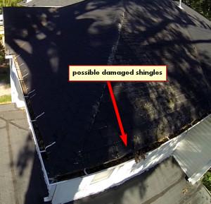 damaged shingle on right